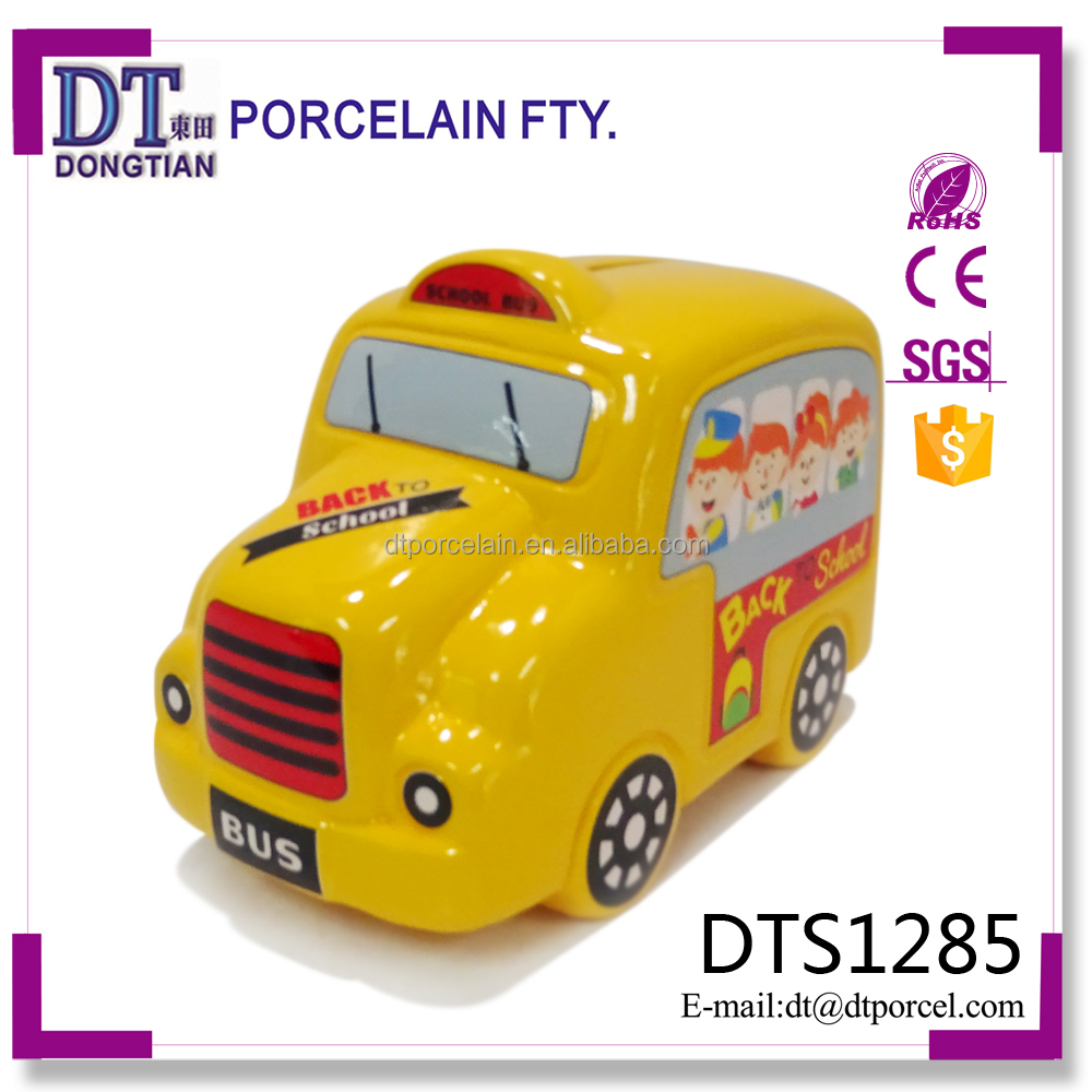 mini atm student yellow school bus ceramic money box coin bank Suppliers