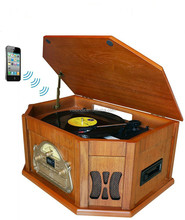 Record Player Vintage Look Wood Turntable AM FM Radio CD Tape player