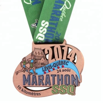 Free design your own plated antique copper commemorative running medal