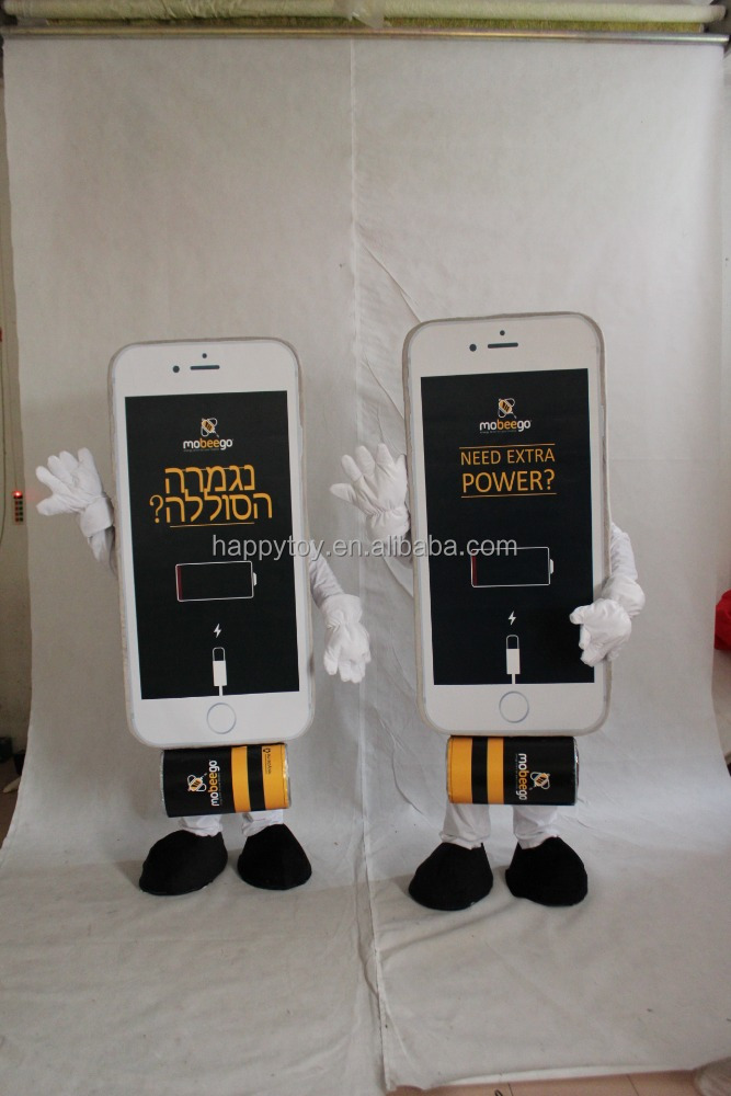 Advertising fur walking mobile phone mascot costume adult phone costume