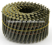 2-1/4''X.099 Screw Shank Vinyl-coated Pallet Coil Nails/Galvanized umbrella head roofing nails factory
