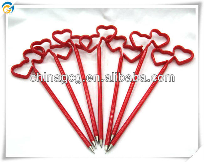 Free Shipping Double Hearts Straw Ball Pen