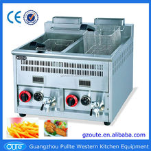 Popular Frying Machine Counter Top Double Tank Potato Chips Making Gas Fryers