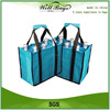 custom non woven 6 bottles Wine Bottle tote Bag with comfortable velcro handle
