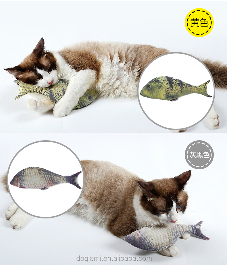 Cat Fish Toy Interactive Chewing Kitten Toys Refilling Catnip Stuffed Cat Toy