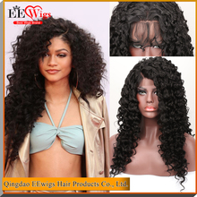180 density curly synthetic hair lace front wig