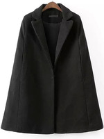 Outerwear Tops fashion women girl clothes Black Lapel Covered Button Cape Coat