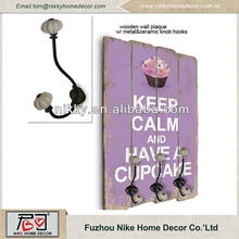 Decorative purple wood plaque wood wall clothing hanger