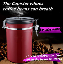 Stainless Steel Metal Type and Metal Material Stainless steel Coffee Canister, lid can breath