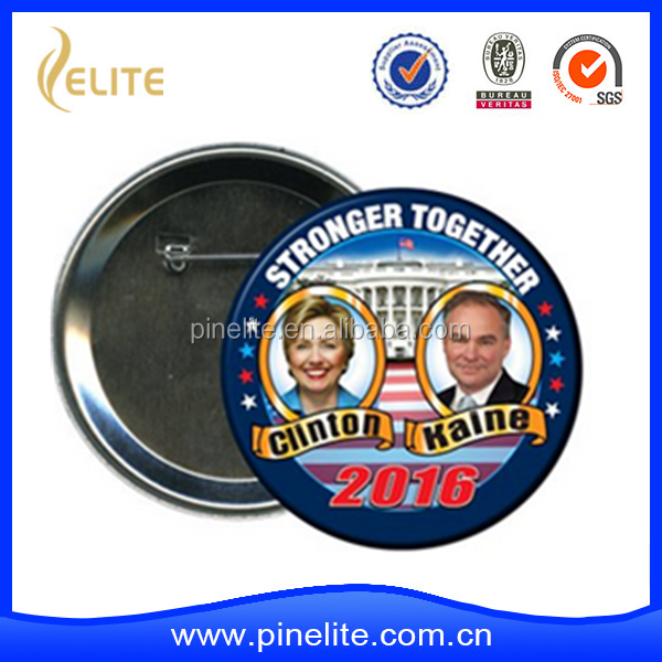 wholesale custom cheap election Campaign used metal tin button badge with safety pin, button badge