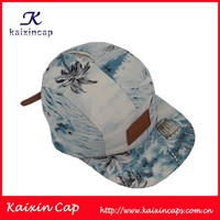 custom digital printed scenery pattern leather patch logo brown leather strap with hole 5 panel camper cap hat