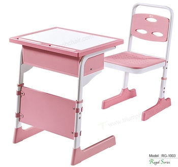 Triumph New design pink color kids reading study table / ergonomic kids plastic study table and chair height adjustable