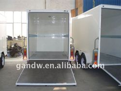 Tandem Axles Cargo Trailer square shape with rear ramp door