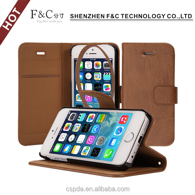 No stiching Book wallet PU leather cellphone case for iphone 6c,for iphone 6c stand cover credit card