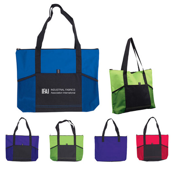 Hot Selling Exposition Conference Tote Bag With Front Mesh Pockets