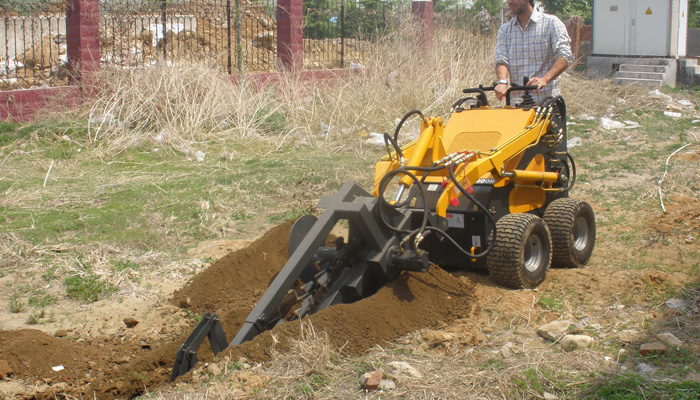 23hp 800mm trench depth garden skid steer mini digging trencher