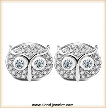 Wholesale new 2016 allibaba com fashion jewellery inlayed tiny zircon/crystal fancy 925 sterling silver owl earrings girls