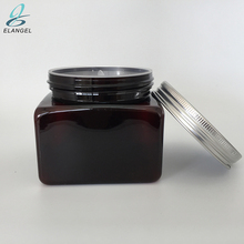 Big size 500 g / 16 oz plastic PET hair gel jar amber colour with aluminum lid, 16 oz cosmetic jars