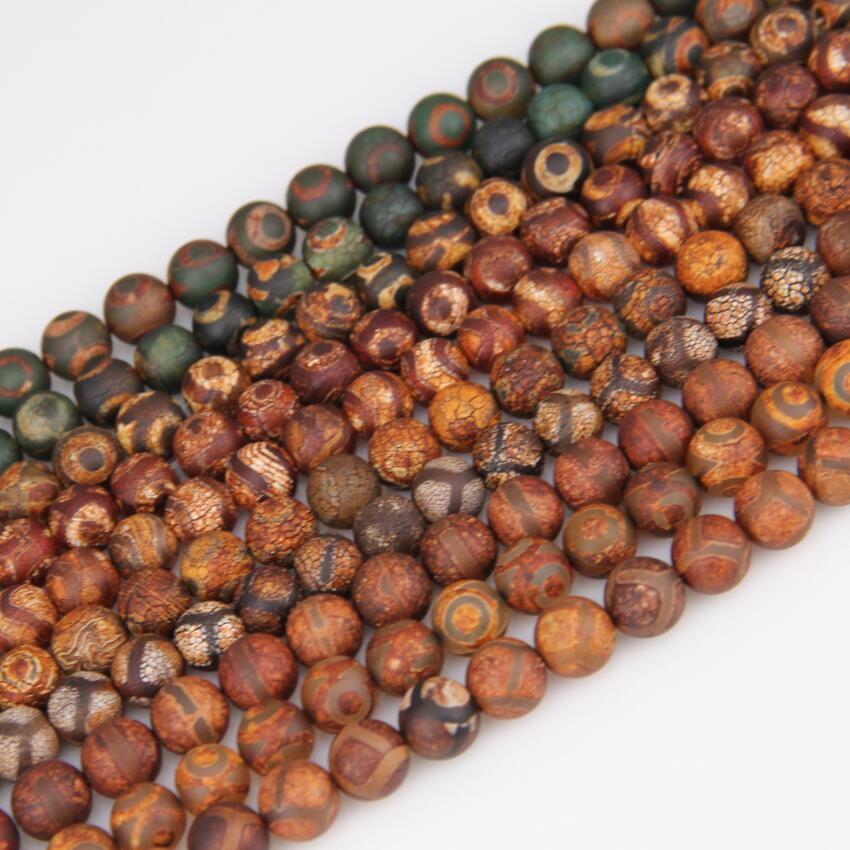 AM-YCX89 Round Tibetan Agate Canelian Gemstone Loose Beads Natural Stone Jewelry India