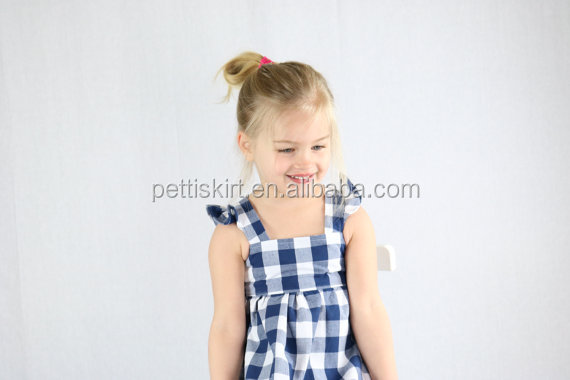 Kids frock designs limited edition girl flutter sleeve dress girls blue white gingham picnic dress with lining
