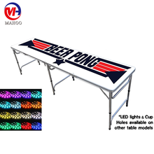 8FT 2 Folding Beer Pong Table with LED light