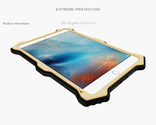 For ipad Pro Waterproof Shockproof Dirtproof Snowproof Aluminum Hard Metal Case with corning gorilla glass protector Cover
