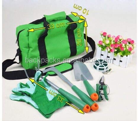 Fashion Home Gardening 7Pcs Garden Tool Set With Bag Including Hoe Rake Shove Pruning tool Gloves and Bundle