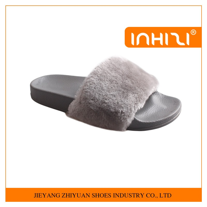 New style comfortable fashion ladies PVC fur slippers