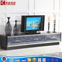 MDF wooden tempered glass top TV stand with drawers