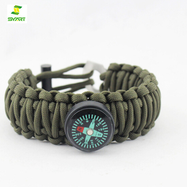 Newest Fashion Outdoor military survival 550 7 core paracord bracelet with fire starter compass whistle