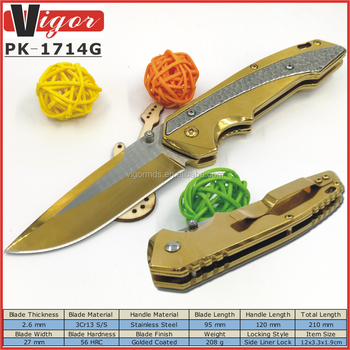 (PK-1714G) 2017 NEW HOT COOL Golden Tactical Survival Outdoor Camping Folding Pocket Knife