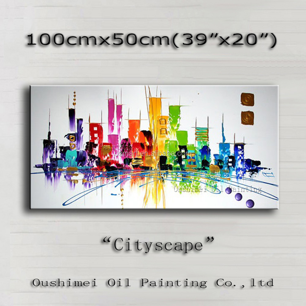 Top Selling High Quality Abstract Cities Building Oil Painting On Canvas Modern Pop Painting Building Oil Paints For Decoration