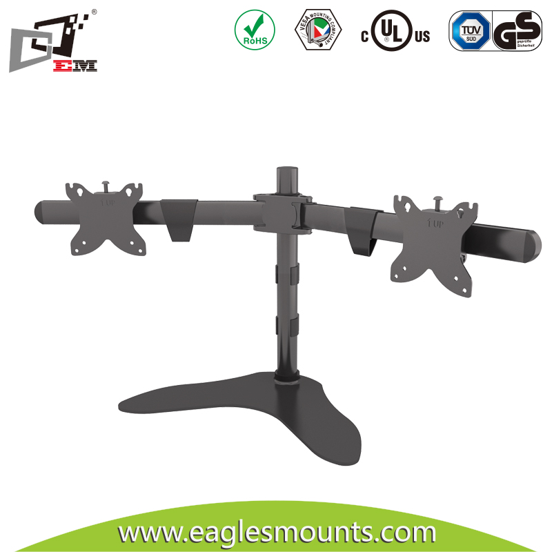 USA Market Popular Product Standard VESA Horizontal Dual Monitor Mount Arm With Powder Black Finishing