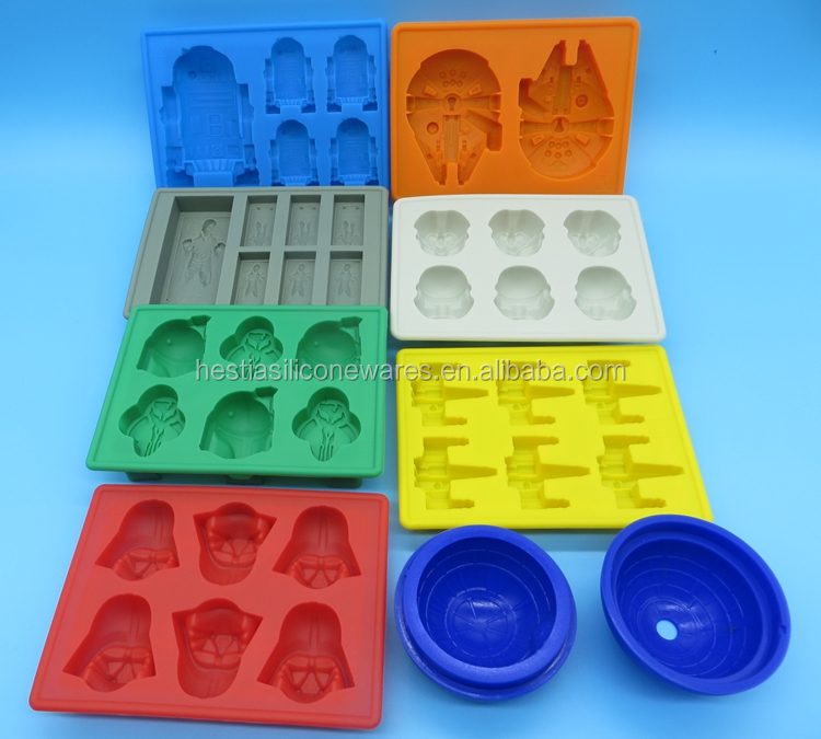 FDA food grade bpa free wars lego star cartoon characters silicone ice cube tray small