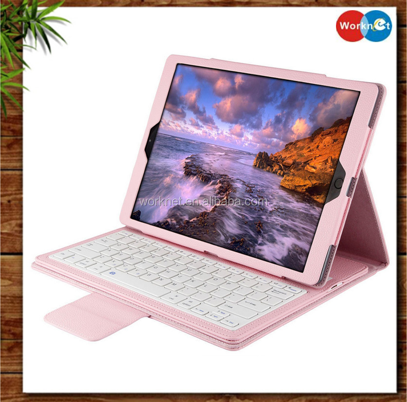 "New arrival tablet stand PU leather wireless bluetooth keyboard case cover for ipad pro 12.9""-Pink color"