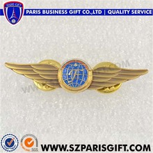 custom gold plated genesis wing badge global lapel pin with butterfly clasp