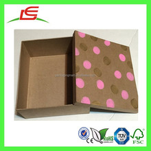 Q1119 Recycled Paper Natural Brown Kraft Gift Box With Lid Custom Painted Polka Dots, Gift Wrap