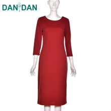 Wholesale new elegant autumn solid loose style nice design ladies red long sleeve maxi dress