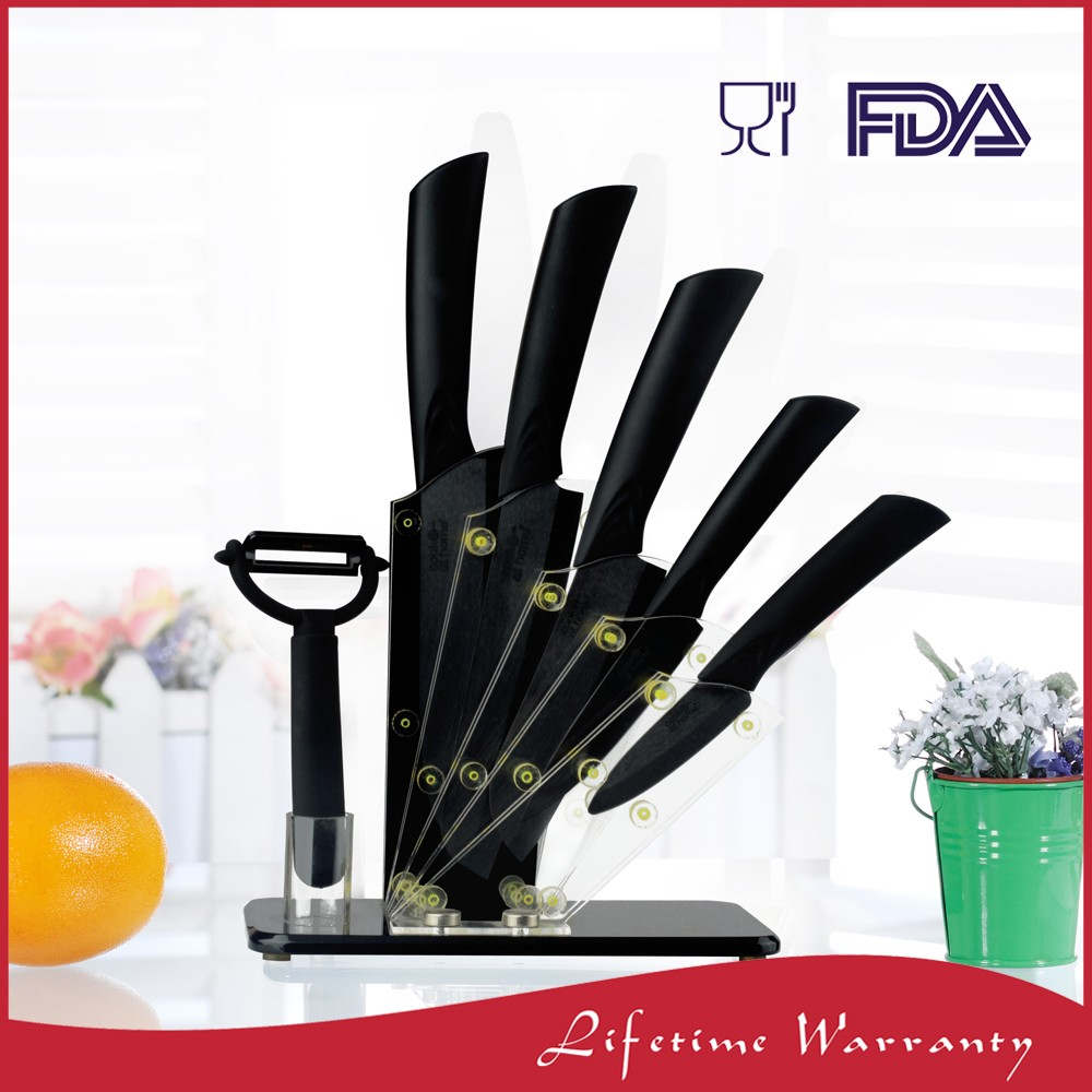 Reasonable Price 7 set pcs kitchen ceramic knife with ceramic chef line knives set