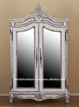 Antique Distressed White Armoire with Mirror