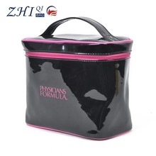 China manufacturer wholesale ladies pvc plastic professional cosmetic makeup train case with handle