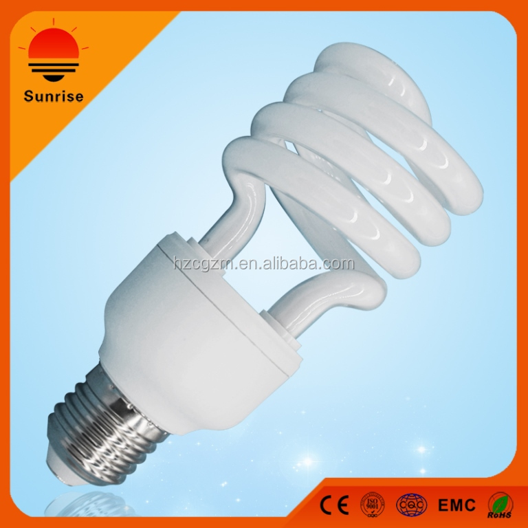 26W 220V half spiral good quality with energy efficient compact fluorescent lamp