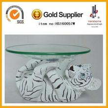 crystal top fruit holder with resin animal tiger statue