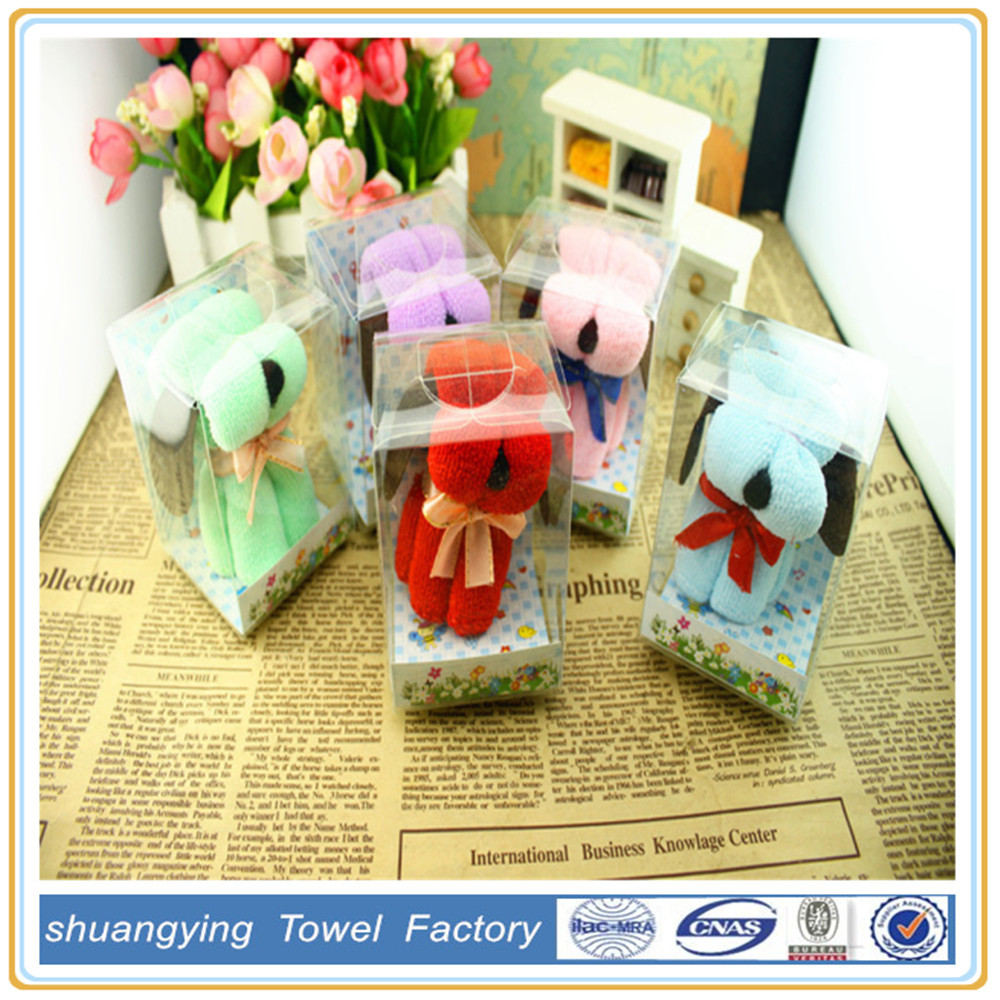 2015 china supplier cotton plain cartoon dog design gift hand towel