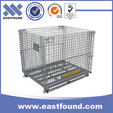Forklift security heavy duty folding wire mesh rolling cage container