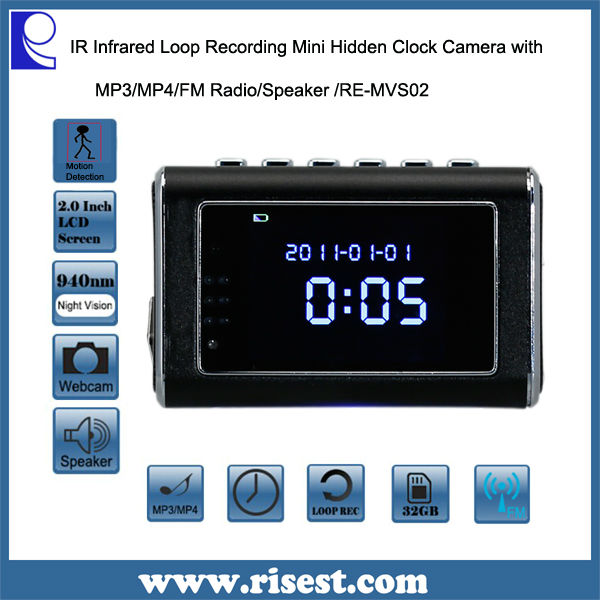 RE-MVS02 Motion Detection Hidden Camera Clock Radio with Night Vision and Long Recording and MP3/MP4 and Alloy Aluminum Body