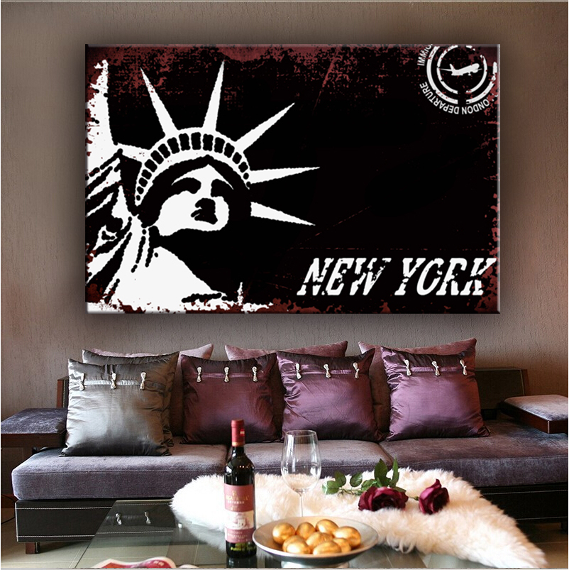New york beautiful famous decoration wall scenery canvas painting