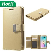 Newest luxury beautiful flip leather wallet mobile case for Samsung galaxy S4 S5 S6/edge