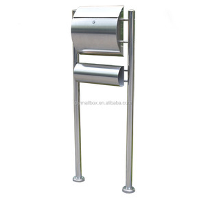 standing stainless steel round mailbox with newspaper holder letterbox