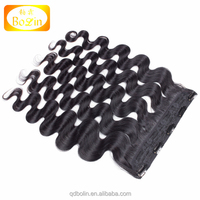 100% top selling high quality cheap price 120G 100% remy hair clip in cambodian human hair extensions